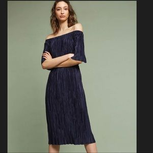 Anthropologie Textured Navy Off the Shoulder Dress